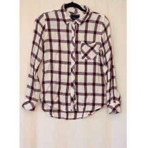 Rails Red & White Plaid Flannel Button Up XS